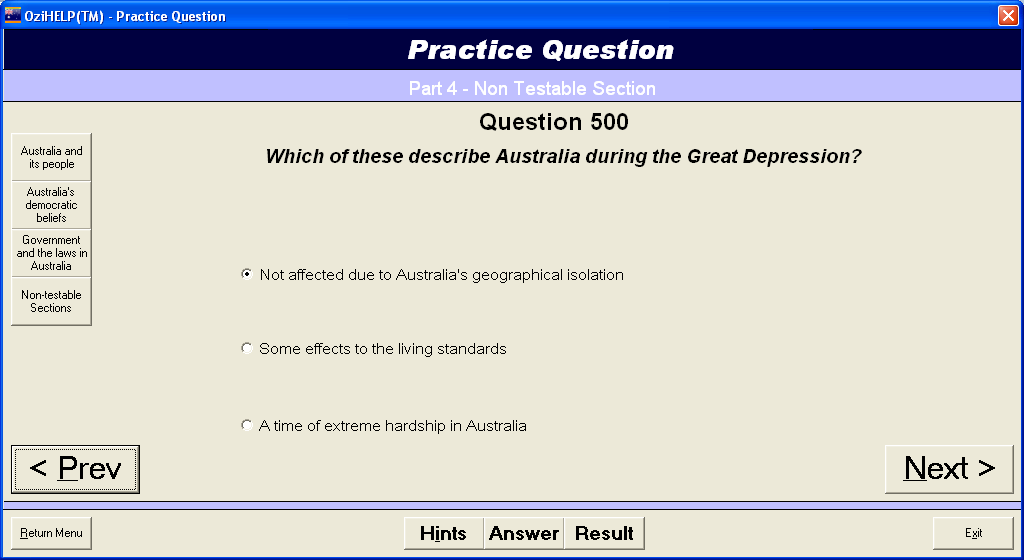 Ozihelp software features - 550 Australian citizenship test practices questions