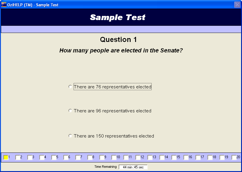 ozihelp software features - simulation the actual or official Australian citizenship test